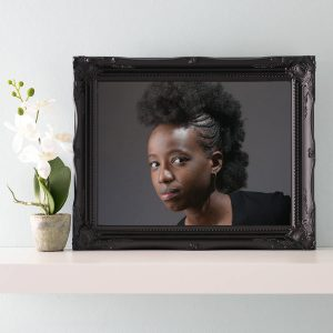 black icture frames with flower pot