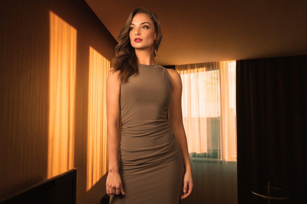 Portrait of women in hotel room