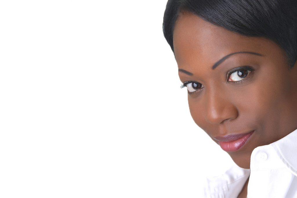 headshot portrait of women with white background